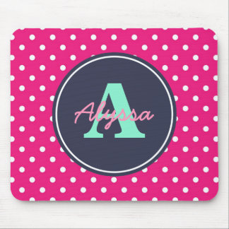 Hot Pink and Navy Dots, Initial, and Name Mouse Pad