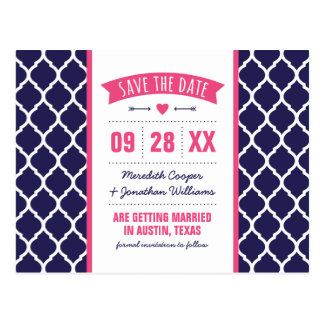 Hot Pink and Navy Modern Quatrefoil Save the Date Postcard