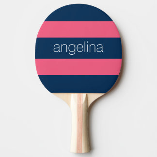 Hot Pink and Navy Modern Rugby Stripes with Name Ping Pong Paddle
