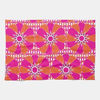 Hot Pink and Orange Bright Flower Pattern Kitchen Towel