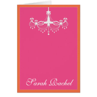 Hot Pink and Orange Chandelier Card