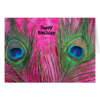 Hot Pink and Peacock Feathers Card