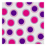 Hot Pink and Purple Polka Dots Concentric Circles Print