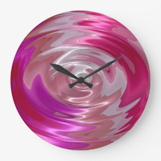 Hot Pink and Purple Spiral Abstract Art Large Clock