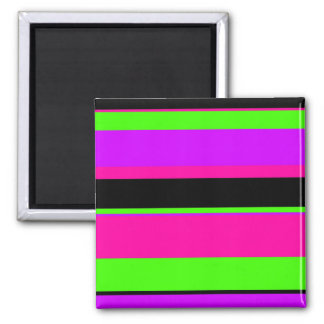 Hot Pink and Purple Tonal Stripes Modern Design Square Magnet