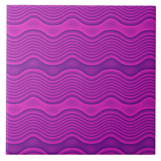 Hot Pink and Purple Waves Tile