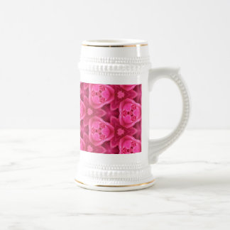Hot Pink and Red Floral Abstract Rose Pattern 18 Oz Beer Stein
