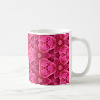 Hot Pink and Red Floral Abstract Rose Pattern Coffee Mug