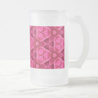 Hot Pink and Red Floral Abstract Rose Pattern Frosted Glass Mug