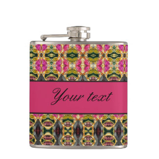 Hot Pink and Red Jewels Hip Flask