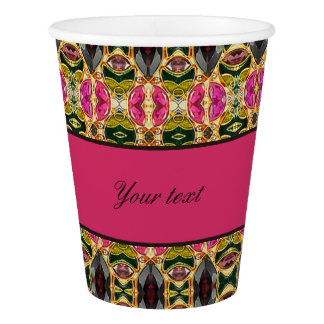 Hot Pink and Red Jewels Paper Cup