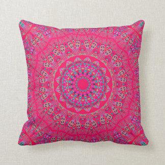 Hot Pink and Reds Mandala Throw Pillow
