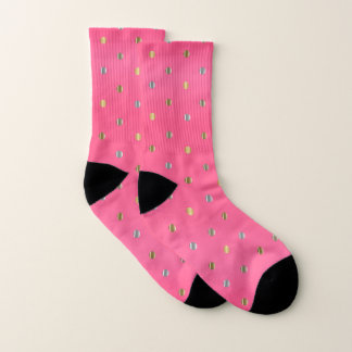 Hot Pink and Silver and Gold Dots Socks