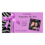 Hot Pink And Silver Zebra Gems Save The Date Card Photo Card