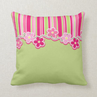 Hot Pink and Spring Green With Stripes and Daisies Throw Pillow