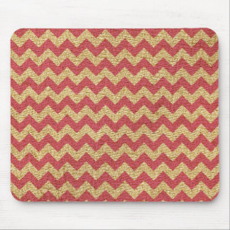 Hot Pink and Tan Canvas Chevron Pattern Mouse Pad