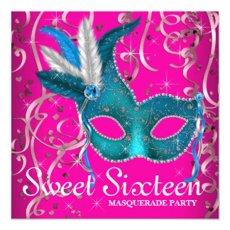 """Hot Pink and Teal Blue Sweet Sixteen Party 5.25"""" Square Invitation Card"""