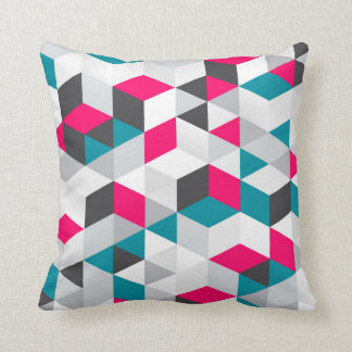Hot Pink and Teal Geometric Pattern Throw Pillow