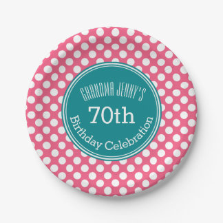 Hot Pink and Teal Polka Dots with Custom Monogram 7 Inch Paper Plate