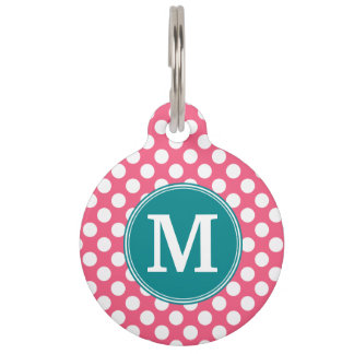 Hot Pink and Teal Polka Dots with Custom Monogram Pet Name Tag