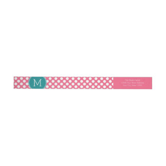 Hot Pink and Teal Polka Dots with Custom Monogram Wrap Around Label