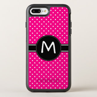 Hot Pink and Tiny White Polka Dot Monogram OtterBox Symmetry iPhone 8 Plus/7 Plus Case