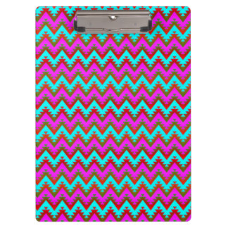 Hot Pink and Turquoise Aztec Chevron Stripes Clipboard