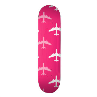 Hot Pink and White Airplanes Skate Boards