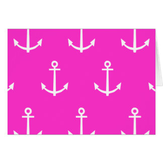 Hot Pink and White Anchors Pattern 1 Card