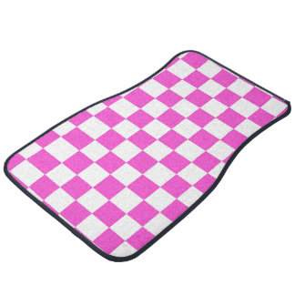 Hot Pink and White Checker Pattern Floor Mat