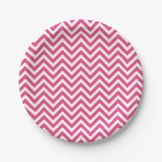 Hot Pink and White Chevron 7 Inch Paper Plate