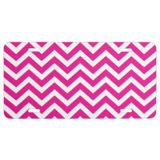 Hot Pink and White Chevron Pattern License Plate