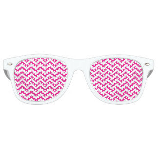 Hot Pink and White Chevron Pattern Party Shades
