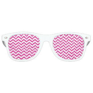 Hot Pink and White Chevron Pattern Retro Sunglasses