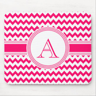 Hot Pink and White Chevron Zig Zag Pattern Mouse Pad
