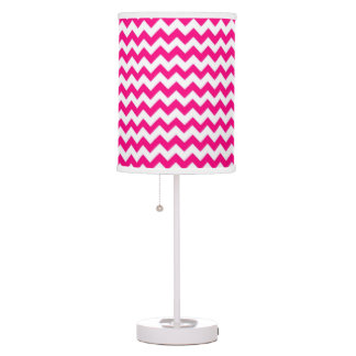 Hot Pink and White Chevron Zigzag Pattern Table Lamp