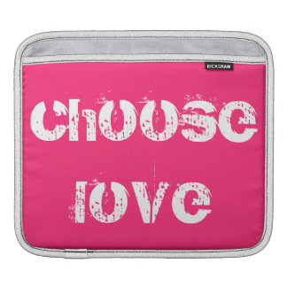 Hot Pink and White Choose Love iPad and Mac Sleeve