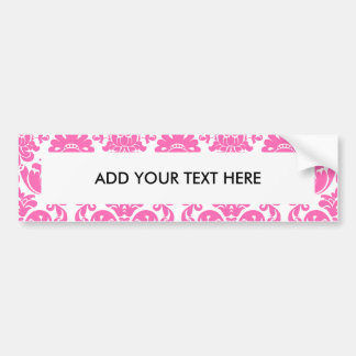 Hot Pink and White Elegant Damask Pattern Car Bumper Sticker