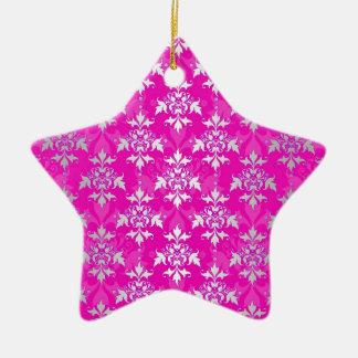 Hot Pink and White Floral Damask Pattern Ceramic Star Ornament