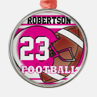 Hot Pink and White Football Silver-Colored Round Ornament