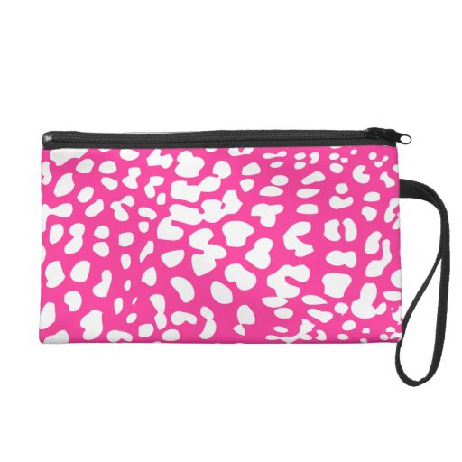 Hot Pink and White Leopard Print Wristlet Bag