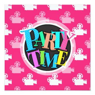 "Hot Pink and White Movie Camera 5.25"" Square Invitation Card"