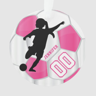 Hot Pink and White Personalize Girl Soccer Player Ornament