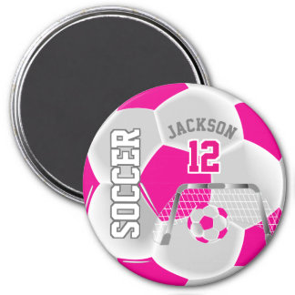 Hot Pink and White Personalize Soccer Ball Magnet