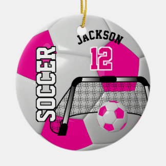 Hot Pink and White Personalize Soccer Ball Round Ceramic Ornament