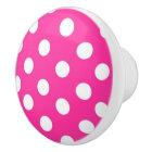 Hot Pink and white Polka dot pattern Ceramic Knob