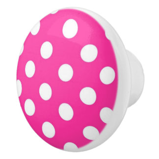 Hot Pink and white Polka dot pattern Ceramic Knob