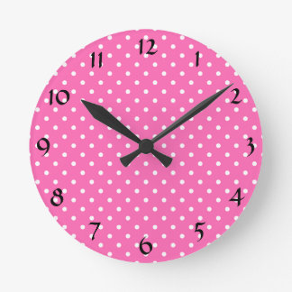 Hot Pink and White Polka Dot Pattern Round Clock