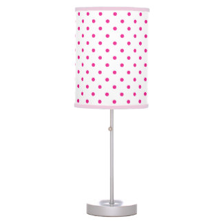 Hot pink and white polka dot pattern table lamp