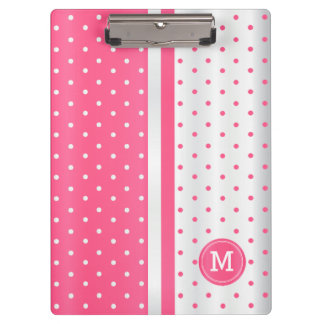 Hot Pink and White Polka Dots - Monogram Clipboard